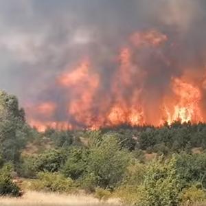 Силен пожар се шири во близина на Пехчево