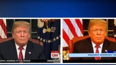 Доналд Трамп на телевизија со портокалово лице и исплазен јазик