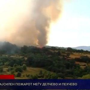 Најсилен пожарот меѓу Делчево и Пехчево