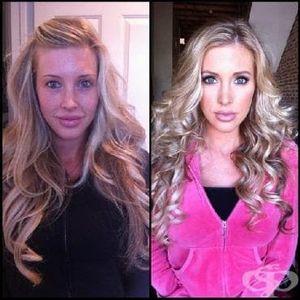 Снимки на порнозвезди преди и след грим - част 2