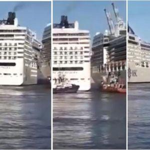 Судир на гиганти на море: Еден крузер скршнал од курсот во многу раздвижено пристаниште, патниците беспомошно гледале
