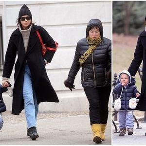 Ирина Шајк со мајка си и ќеркичката Леа низ Централ Парк во Њујорк