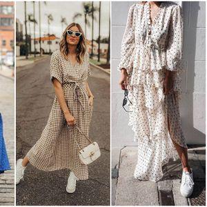 Долг фустан во 20 стилски, секојдневни комбинации (фото)