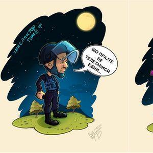 """Талат, инспектор Томе: Илустратор ги црта ликовите од """"Преспав"""" и македонските ѕвезди како суперхерои"""