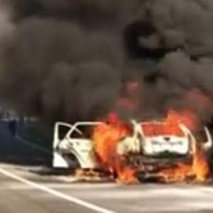 HOROR NA AUTO-PUTU ZA NIŠ! Izgoreo auto! U njemu bio bračni par sa dvoje dece!
