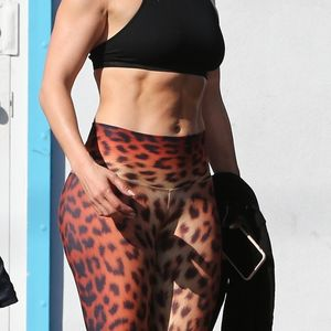 Jennifer Lopez shows off her ripped abs in leopard print leggings at pre-Super Bowl workout