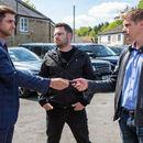 Emmerdale's raging Robert Sugden confronts Victoria's rapist Lee at the car dealership