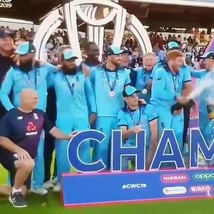 Muslim duo Ali and Rashid run for cover from champagne spray during England celebrations and fans love it