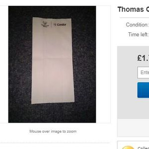 Thomas Cook memorabilia is already being sold on eBay with items including crew manuals, safety cards and 'used' sick bag