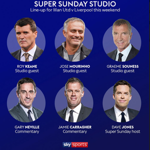 How Sky Sports are going to line up for Man Utd vs Liverpool with Mourinho and Keane among the pundits