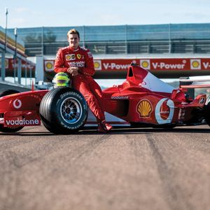 Watch Michael Schumacher's son get behind the wheel of his dad's title-winning Ferrari as it goes up for auction