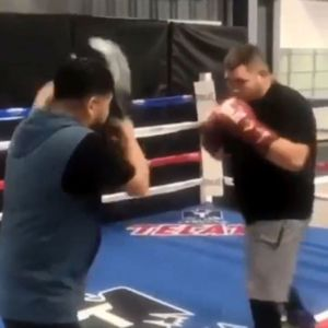 Watch Ruiz Jr show off his devastating power and speed as he accidentally punches his trainer ahead of Joshua fight