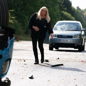 EastEnders spoilers: Pregnant Sharon Mitchell clutches her bump as she finds Mel 'dead' in the car crash