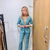 Love Island's Laura Whitmore poses without a bra in sexy blue power suit