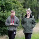 Coronation Street star Sam Aston's pregnant wife Briony shows off her growing baby bump as couple walk their dog