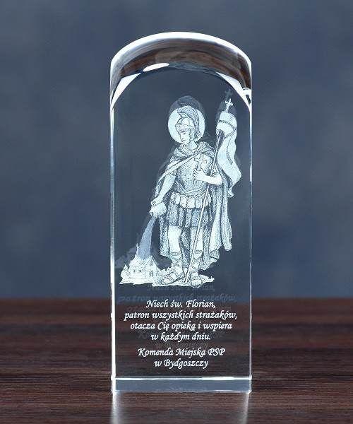 Obraz Świętego Floriana wygrawerowany w krysztale