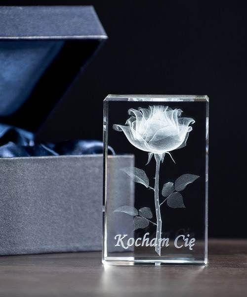 Róża 3D w krysztale, Kryształowa statuetka personalizwana tekstem