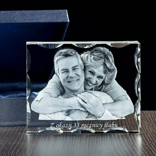 Fotoprezent, zdjęcie 3D w krysztale / Prezent na rocznicę ślubu/ Prezenty okolicznościowe – Studio 3D