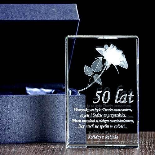 Kryształ na 50 urodziny - róża 3D oraz dedykacja - Studio3D
