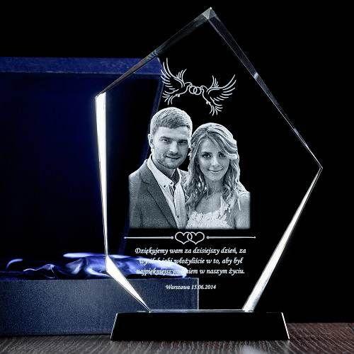 Fotoprezent w prestiżowym krysztale / Ślubne podziękowania rodzicom / Prezenty okolicznościowe – Studio 3D
