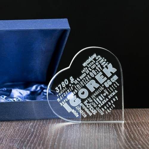 Personalizowany podarunek w kryształowym sercu / Prezent dla mamy/ Prezenty okolicznościowe – Studio 3D