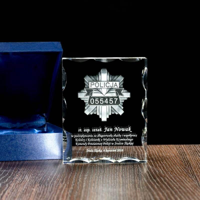 Grawerowana odznaka policyjna z personalizowanym tekstem, Statuetka kryształowa