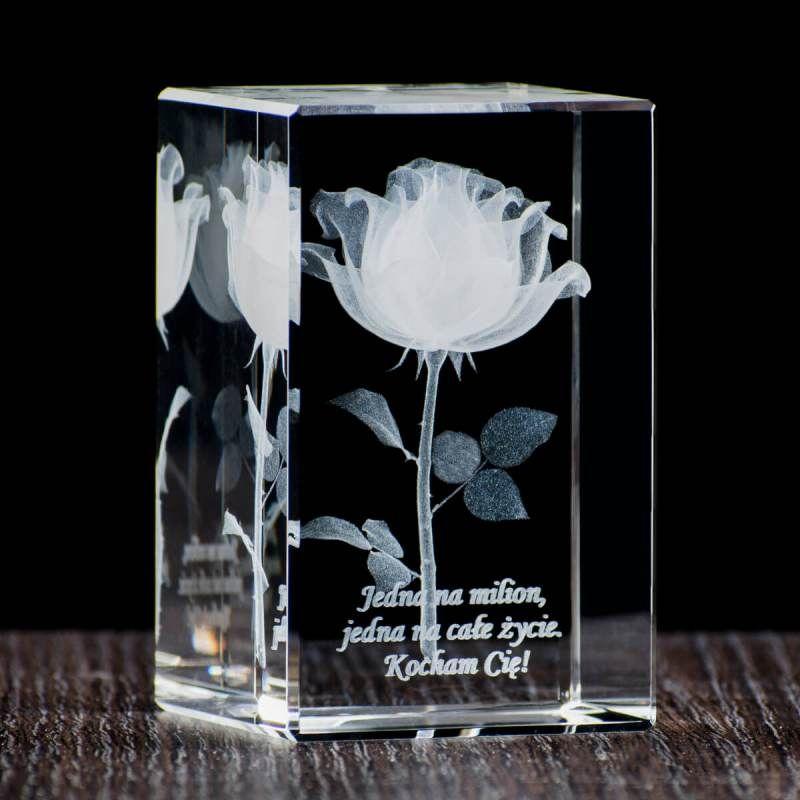 Róża 3D w małym krysztale/ Prezent na dzień kobiet/ Prezenty okolicznościowe – Studio 3D