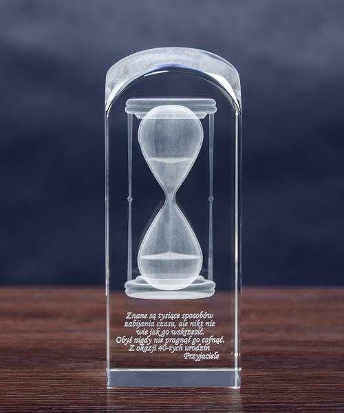 Trójwymiarowa klepsydra, kryształ z grawerem