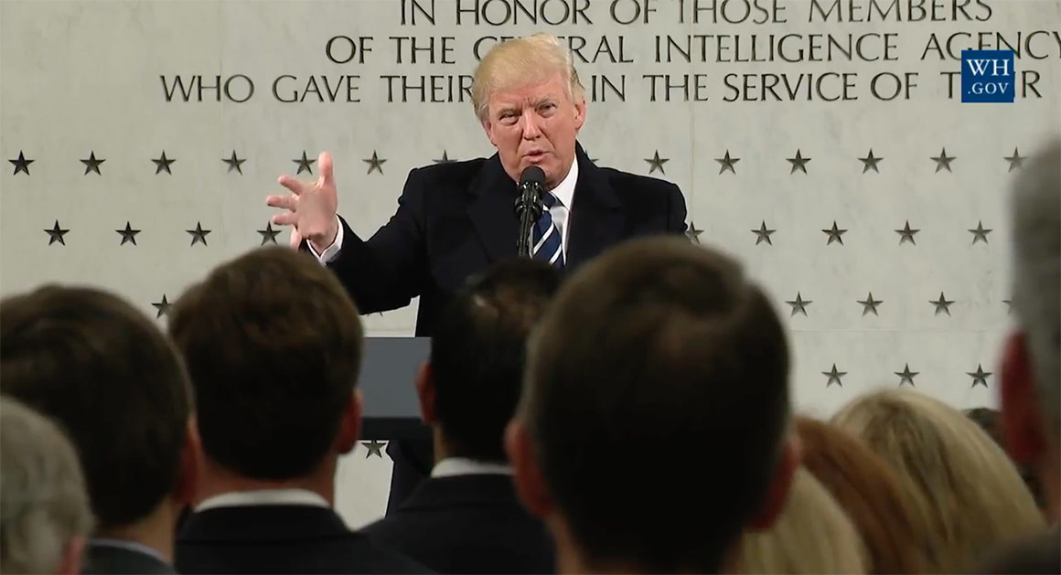 At CIA headquarters, Trump boasts about himself and promises support