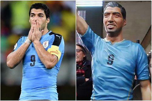 """Luis Suarez cũng là một trong những nạn nhân của các nhà điêu khắc thiếu thẩm mỹ. Chân sút hiện khoác áo Barcelona được nhà điêu khắcAlberto Morales Saravia """"tặng"""" một tác phẩm không thể xấu xí hơn nhằm vinh danh những đóng góp của anh đối với đội tuyển quốc gia Uruguay."""