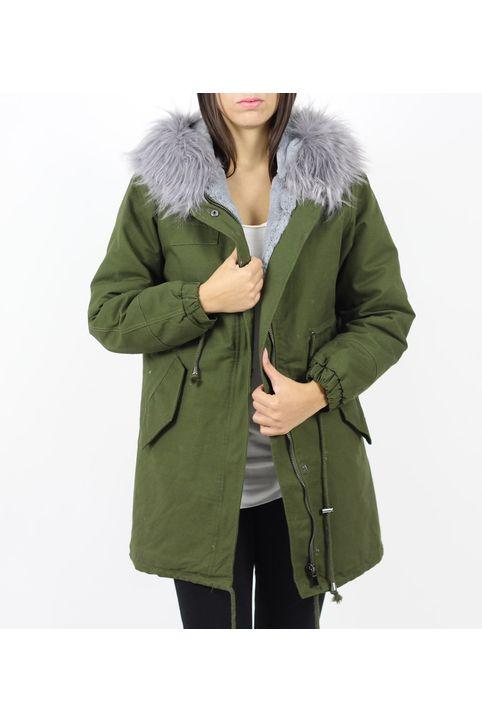 Μπουφάν πάρκα γυναικείο με γούνα D2001