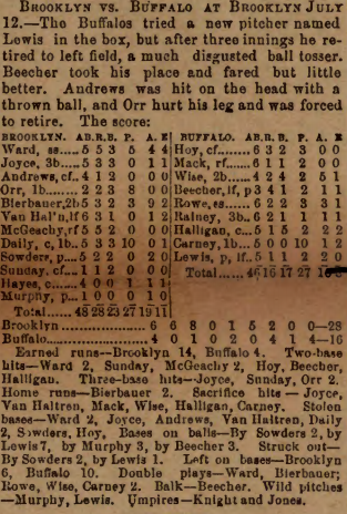 A faded clipping from Sporting Life, dated July 19, 1890.