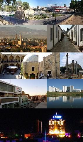 从左上到右下:北尼科西亚历史区、大旅馆、贝德雷丁·德米雷尔大街的高楼大厦(右边的建筑物是北尼科西亚最高的建筑物)、穆罕默德·阿基夫大街娱乐中心、旧城中心地段的阿塔图尔克广场、北尼科西亚市礼堂、塞利米耶清真寺