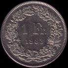1瑞士法郎(1983年)硬币反面