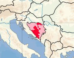黑塞哥 - 波斯尼亚克罗地亚共和国(赫尔波克克罗地亚共和国)的位置