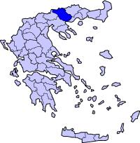 塞雷斯州在希腊的位置