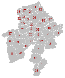 Municipal divisions of Namur (click on image for full legend).