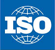 """A blue rectangle with a white line drawing of a sphere inside divided longitudinally and latitudinally and emblazoned with the letters """"ISO"""" in white"""