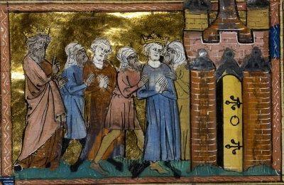 Miniature représentant Louis IX mené captif vers une tour.