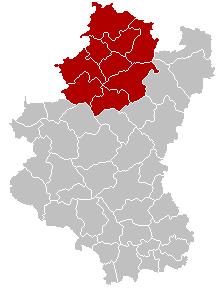 马尔什昂法梅讷区在卢森堡省的位置