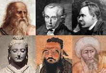从左到右:柏拉图、康德、尼采、释迦牟尼、孔子、亚维侯