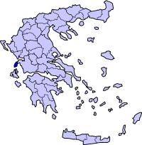 莱夫卡斯州在希腊的位置