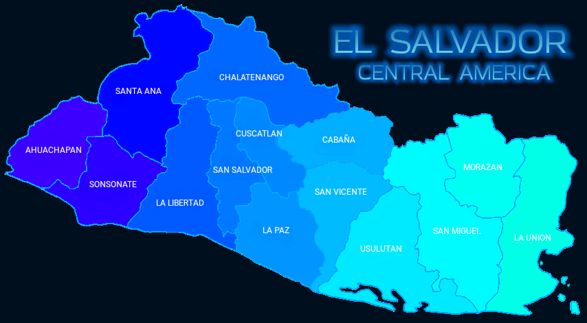 El Salvador Departments Map Mapa Departamentos El Salvador.png