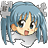 Head of cute girl, manga-style, with blue hair, big eyes and smile, and gray puzzle pieces below and around her hair