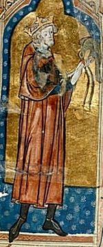 A medieval painting of King Stephen holding a hunting bird