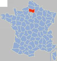 瓦兹省在法国的位置