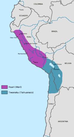瓦里文明位置,(公元600年–1000年)。