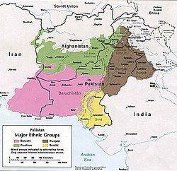 粉红色部分为俾路支斯坦范围