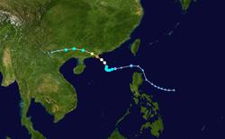 强台风韦森特的路径图