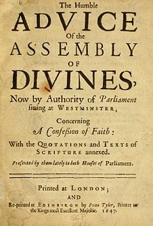 """Title page reading """"The Humble Advice of the Assembly of Divines, Now by Authority of Parliament sitting at Westminster, Concerning A Confession of Faith..."""""""